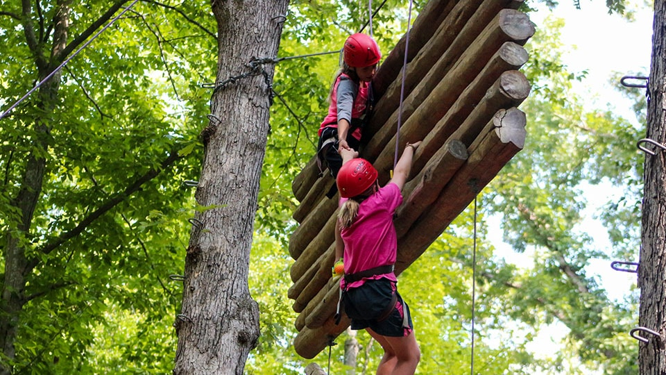 Ropes course activity at Camp Friendship