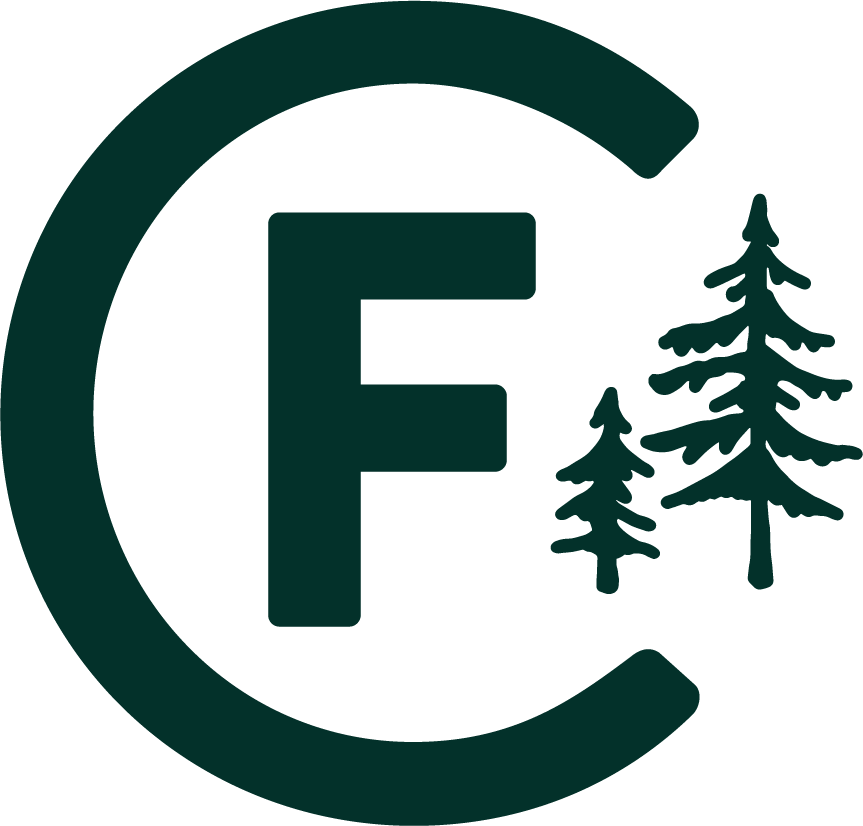 Our logo. A green C F with pine trees to represent Camp Friendship.