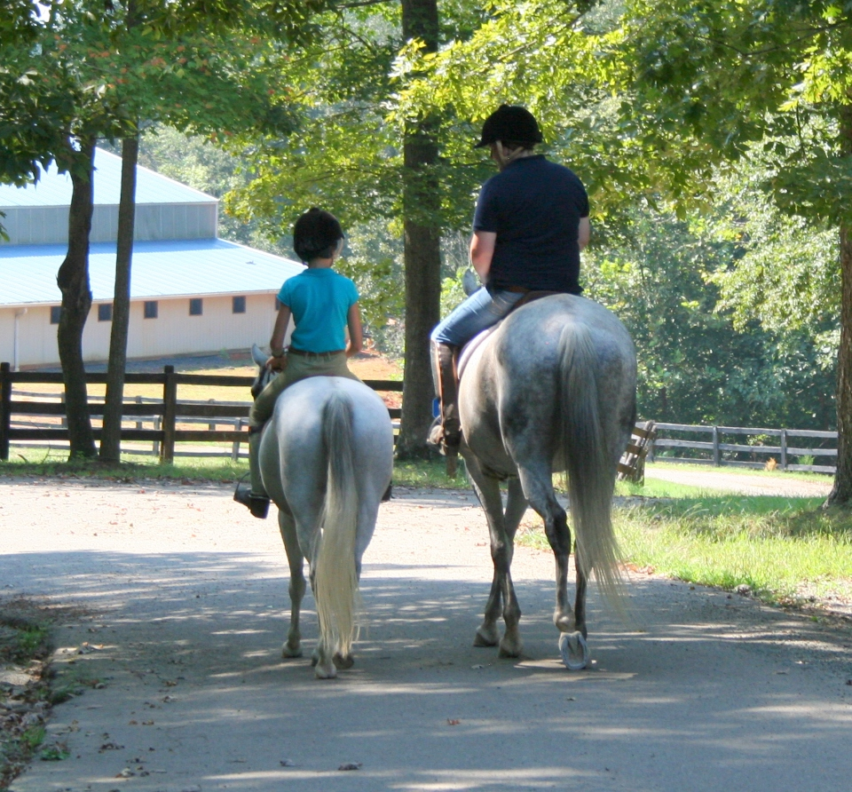 Staff and camper riding two horses down to the residential Equestrian Center at Camp Friendship