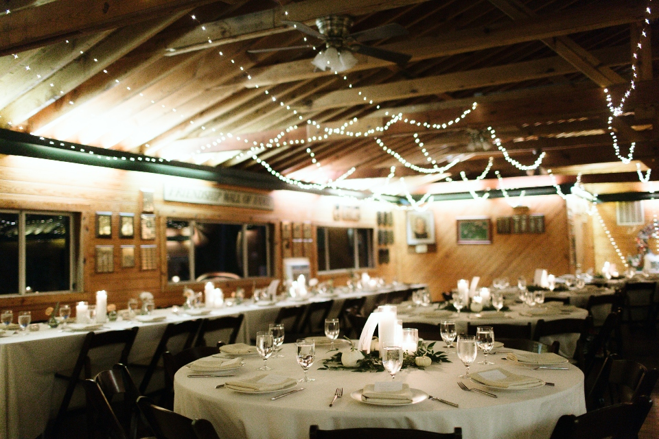 In this image you can see a wider view of one of our wedding venue layouts of tables within our dining hall.