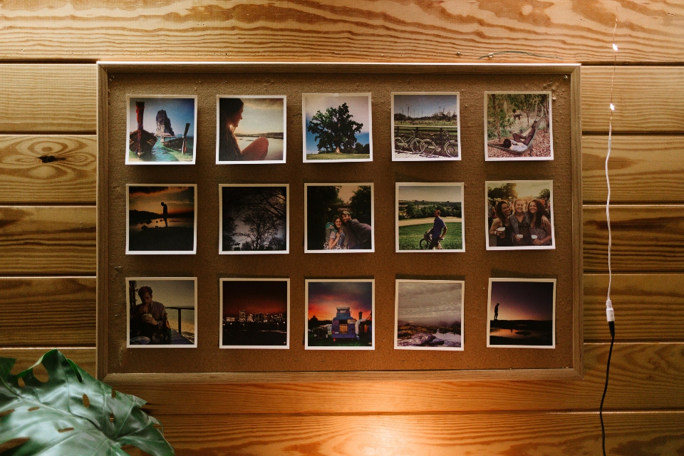 A gallery of destination photos hang on the wall of our dining hall.