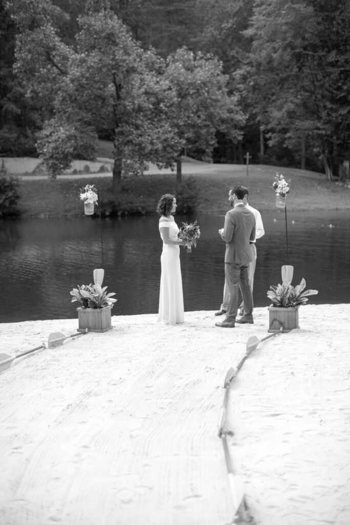 Bride and Groom share vows on the shores of Friendship lake at their virginia wedding