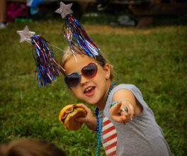 A junior camper shows off her fashion with a fourth of July outfit brought for our independance!