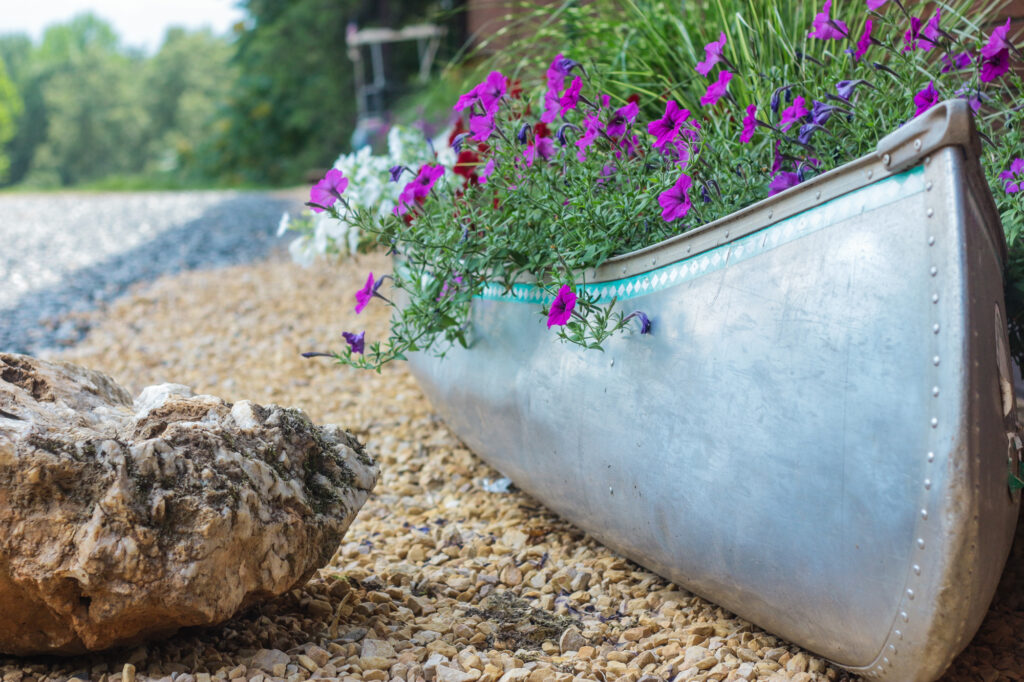 Decorative canoe with wildflowers
